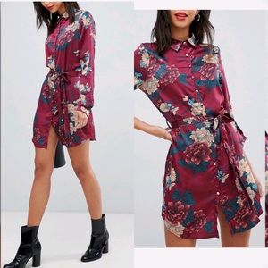 Floral Button Down Silky Burgundy Shirt Dress